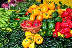Обои Овощи Перец Много Еда картинки