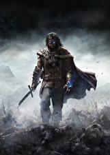 Картинка Воители Мужчины Middle-earth: Shadow of Mordor Мечи Плащ Игры Фэнтези