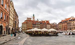 Фото Варшава Польша Дома Городской площади Улица Города