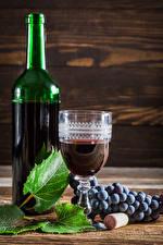 Фото Вино Виноград Бутылка Рюмка Листья Еда