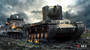 Обои World of Tanks Танки Русские KV-2 Игры