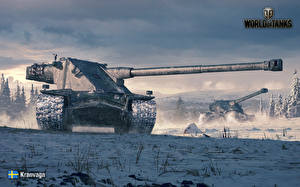 Обои World of Tanks Танки Снег Kranvagn Игры