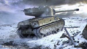 Обои World of Tanks Танки Американские Снег M6A2E1 Игры фото
