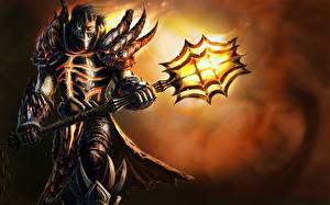 Картинки WoW Воители Посохи Броня Deathwing Approach Игры Фэнтези