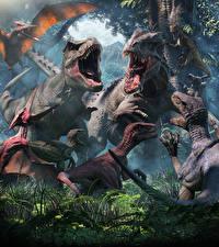 Фотография Древние животные Динозавры Тираннозавр рекс Оскал Животные 3D_Графика