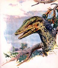 Картинка Древние животные Динозавры Zdenek Burian Голова Proavis Животные