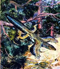 Картинки Древние животные Динозавры Zdenek Burian Proavis Животные