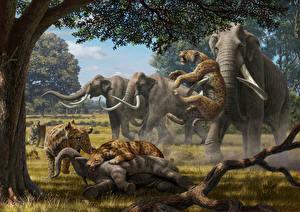 Картинка Древние животные Мамонты Сражение Охота Животные