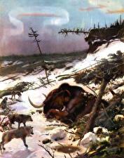 Фотография Древние животные Мамонты Волки Zdenek Burian Животные