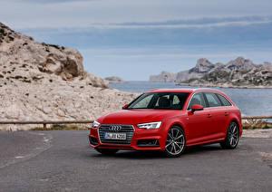 Картинки Audi Красная Универсал 2015 quattro Avant машина