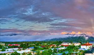 Картинка Австралия Дома Небо Облака Пар Cairns Queensland Города