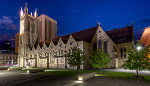 Обои Австралия Храмы Церковь Деревья Уличные фонари Ночь Adelaide Города