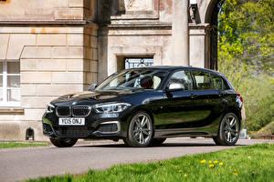 Картинки BMW Черный 2015 F20 UK-spec 5-door M135i Автомобили