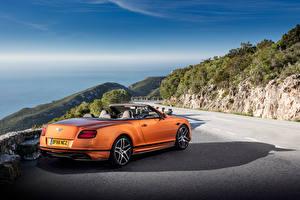 Фотография Bentley Оранжевая Вид сзади Кабриолет 2017 Continental Supersports Worldwide автомобиль