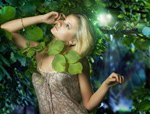Картинка Блондинка Взгляд Руки Листья Девушки