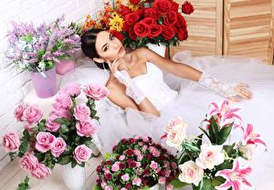 Фото Букеты Розы Лилии Свадьба Невеста Девушки