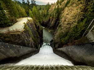 Картинка Канада Водопады Леса Ванкувер Скала Плотина Cleveland Dam