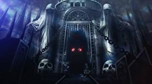 Фотографии Замок Воин Dark Souls Чудовище Готика Фэнтези Арка 2 компьютерная игра Фэнтези