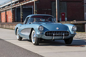 Обои Chevrolet Ретро Голубой 1956 Corvette