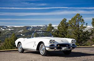 Фото Chevrolet Ретро Кабриолет Белый 1962 Corvette Fuel Injection Автомобили