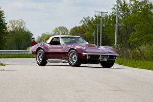Обои Chevrolet Ретро Бордовая Металлик 1969 Corvette Stingray L88 Convertible Автомобили