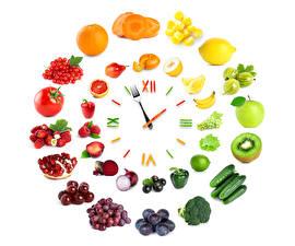Фотография Часы Овощи Фрукты Креатив Белый фон Дизайн Пища