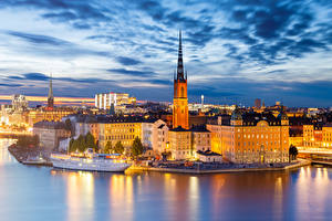 Картинка Побережье Вечер Дома Швеция Стокгольм Башня Города