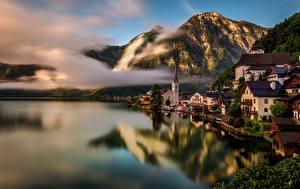 Картинка Побережье Дома Австрия Халльштатт Озеро Альпы Города