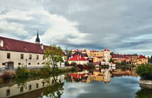 Фото Чехия Здания Реки Отражение Jindrichuv Hradec Города