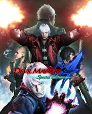 Фотографии Devil May Cry 4 Данте Мужчины Пистолеты Выстрел Special Edition, Vergil, Mary, Trish Игры