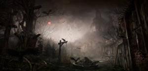 Картинка Diablo III Вороны Готические Ночь Игры Фэнтези