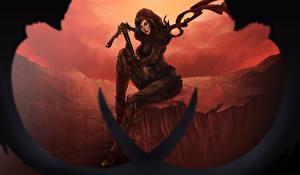 Фото Diablo III Воители Лучники Сидит Reaper of Souls Игры Девушки Фэнтези