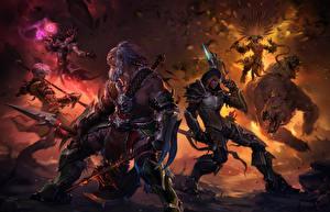 Картинка Diablo III Воины Доспехи Игры Фэнтези