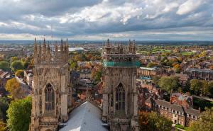 Картинка Англия Дома Крыша Облака York Города