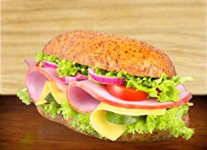 Фотографии Фастфуд Бутерброды Булочки Овощи Ветчина Сэндвич Пища Еда