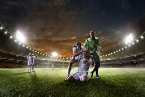 Фотография Футбол Вечер Мужчины Трава Униформа Стадион Спорт