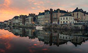 Фотографии Франция Дома Реки Вечер Причалы Отражение Redon Brittany Города