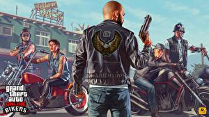 Фотография GTA 5 Мужчины Пистолеты Мотоциклист Куртка online bikers Игры