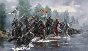 Картинки Игра престолов (телесериал) Рисованные Рыцарь Лошади Вода Броня