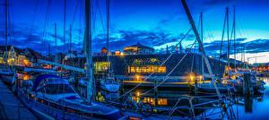 Картинки Германия Дома Причалы Вечер Парусные Яхта Stralsund Города