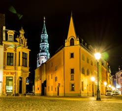 Фотографии Германия Дома Улица Ночь Уличные фонари Zwickau Города