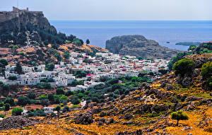 Картинка Греция Здания Камень Утес Lindos Rhodes