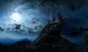 Обои Гарри Поттер Замок Фантастический мир В ночи Луна Hogwarts Фильмы Фэнтези