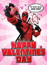Фотографии Супергерои Deadpool герой День святого Валентина Сердце Английский