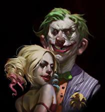 Картинки Супергерои Джокер Харли Квинн герой Двое На черном фоне Улыбается Блондинок Фэнтези