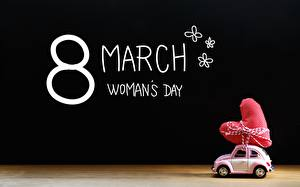 Фотографии Праздники 8 марта Сердце Английский Автомобили
