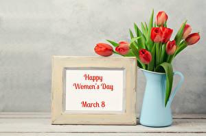 Фотографии Праздники Международный женский день Тюльпаны Английский Кувшин Цветы