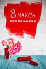 Обои Праздники Международный женский день Тюльпаны Доски Английский Стена Цветы