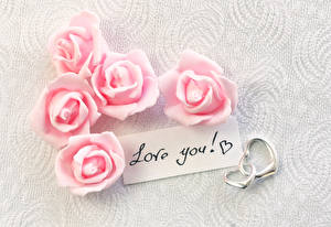 Обои Праздники Розы Розовый Английский Сердце Цветы