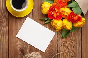 Фото Праздники Тюльпаны Кофе Доски Шаблон поздравительной открытки Цветы